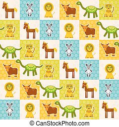 Set of funny animals Mouse lion cow dinosaur tiger horse seamless pattern. Polka dot background with green blue orange square. Vector