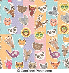 Set of funny animals muzzle seamless pattern. background with Polka dot. Vector