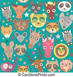 Set of funny animals muzzle seamless pattern. Teal...