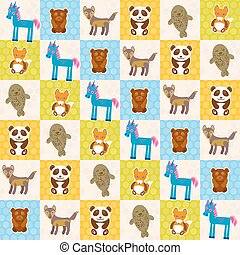 Set of funny animals panda bear wolf fox fur seal unicorn seamless pattern. Polka dot background with green blue orange square. Vector