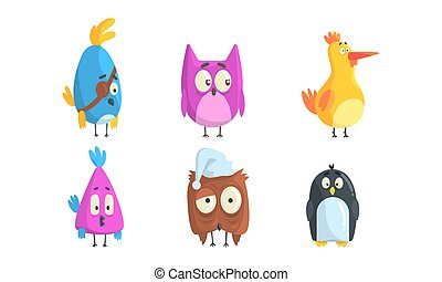 Set of Funny Birds, Cute Little Birdies with Funny Faces Cartoon Vector Illustration