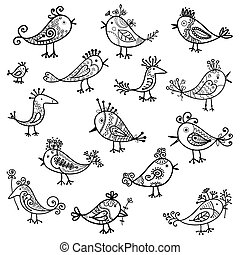 Set of funny birds for your design