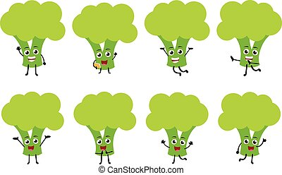 set of funny brocoli vegetable cartoon character