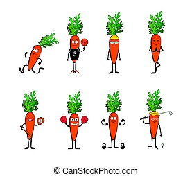 Set of funny carrots doing sport . cartoon vector illustration isolated on white background. Cute and focused characters