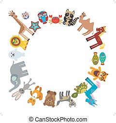 Set of funny cartoon animals character bear elephant fox giraffe horse lion camel rabbit wolf turtle unicorn owl starfish cat seal on white background walking around globe. frame for your text. Vector