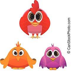 set of funny cartoon bird