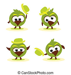 Set of funny cartoon birds with hat