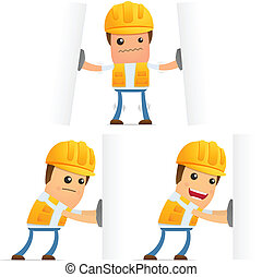 set of funny cartoon builder in various poses for use in ...