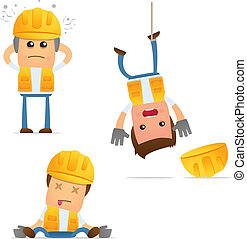 set of funny cartoon builder in various poses for use in...