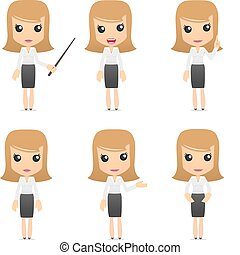 set of funny cartoon business women in various poses for use...