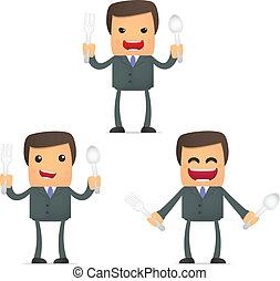 set of funny cartoon businessman