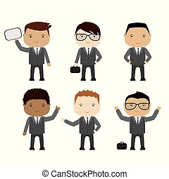 set of funny cartoon businessman or manager in various poses, different races
