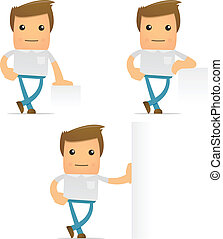 set of funny cartoon casual man in various poses for use in...