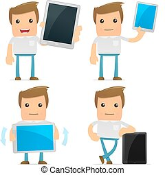 set of funny cartoon casual man in various poses for use in ...