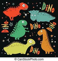 Set of funny cartoon dinosaurs.
