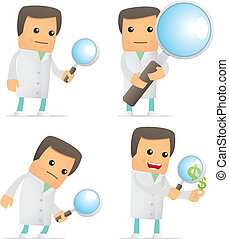 set of funny cartoon doctor in various poses for use in ...