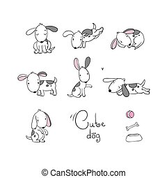 Set of funny cartoon dogs.