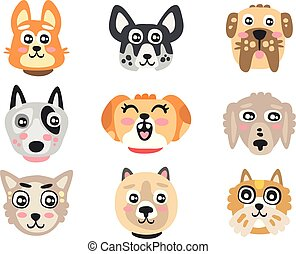 Set of funny cartoon dogs heads. Dogs of different breeds colorful character vector Illustrations