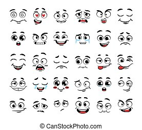 Set of funny cartoon faces