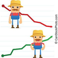 set of funny cartoon farmer in various poses for use in ...
