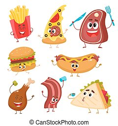 Set of funny cartoon fast food characters