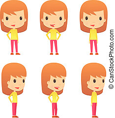 set of funny cartoon girl - set of funny cartoon women in...