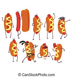 Set of funny cartoon hot dog character in action. Fast food concept. Flat vector illustration