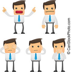 set of funny cartoon manager - set of funny cartoon office ...