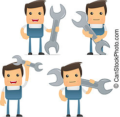 set of funny cartoon mechanic in various poses for use in ...