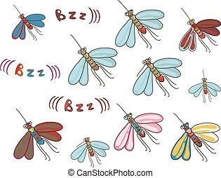 set of funny cartoon mosquitos