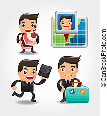 set of funny cartoon office worker go to travel
