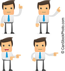 set of funny cartoon office worker in various poses for use ...