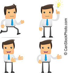 set of funny cartoon office worker in various poses for use...