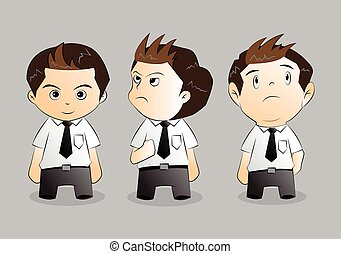 set of funny cartoon office worker in various poses