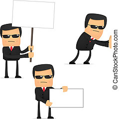 set of funny cartoon security in various poses for use in ...