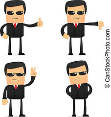 set of funny cartoon security in various poses for use in...