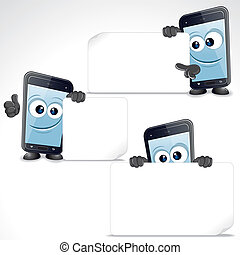 Set of Funny Cartoon Smart Phone. Vector Clip Art