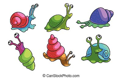 Set of funny cartoon snails with different shell colors. Vector illustration in flat cartoon style.