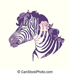 Set of funny cartoon zebras on white background. Cute colorful baby zebras on bike, with glasses and baloons