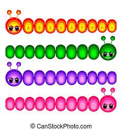 Set of funny caterpillars - Set of amusing caterpillars on a...