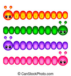 Set of amusing caterpillars on a white background. Caterpillars of different color. On one caterpillar of a letter of the English alphabet.