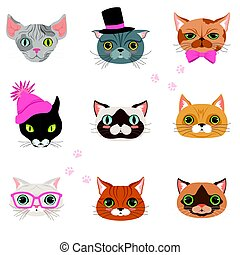 Set of funny cats heads of different breeds, colorful character vector Illustrations