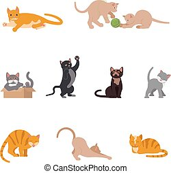 Set of funny cats in flat design.