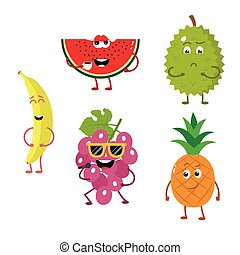 Set of funny characters from fruit 2.