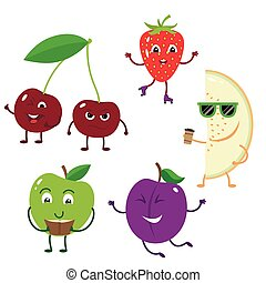 Set of funny characters from fruit.