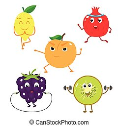 Set of funny characters from fruit sports.