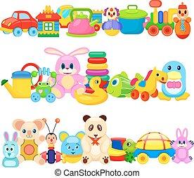 Set of Funny Children Toys on White Background