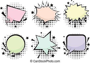 Set of funny color retro comic speech bubbles
