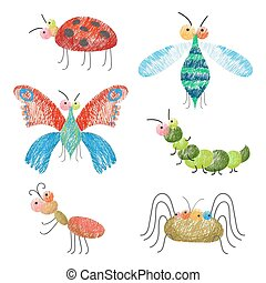 Set of funny colorful bugs on vector illustration