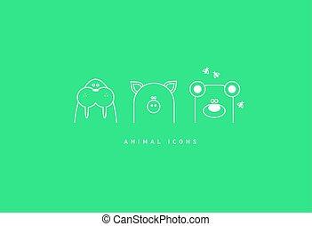 Set of funny contour animal icons,walrus, pig, bear